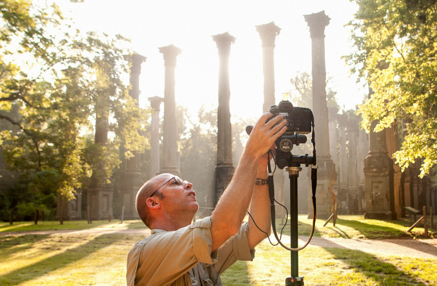 Richard Alan Hannon photographing the remains of Windsor Ruins plantation in Port Gibson, Mississippi. Photo by Adam Lau.