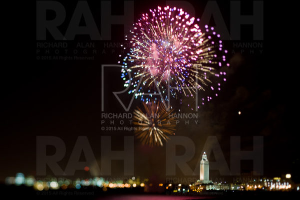 Fireworks erupt above the Baton Rouge skyline
