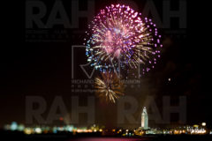 Fireworks erupt above the Baton Rouge skyline, including the 34-floor Louisiana State Capitol Building, July 4, 2009.