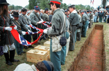 Re-internment for the first H.L. Hunley submarine crew in Magnolia Cemetery, Charleston, SC  March 25, 2000. On August 29, 1863, the submarine H.L. Hunley sank at Ft. Johnson claiming the lives of five of her crew.  Photo by Richard Alan Hannon