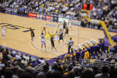 LSU senior Garrett Temple tries for a three-pointer against Vanderbilt at the Pete Maravich Assembly Center in Baton Rouge, La. March 4, 2009.
