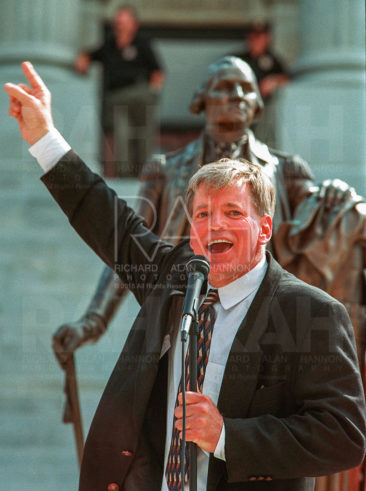 David Duke, former State Representative for Louisiana, and currently the  elected chairman for the St. Tammany Parish Republican Party in Louisiana,  speaks out against the NAACP's boycot of South Carolina during a Confederate  Flag rally at the Statehouse in Columbia on Saturday, October 9, 1999. Photo by Richard Alan Hannon