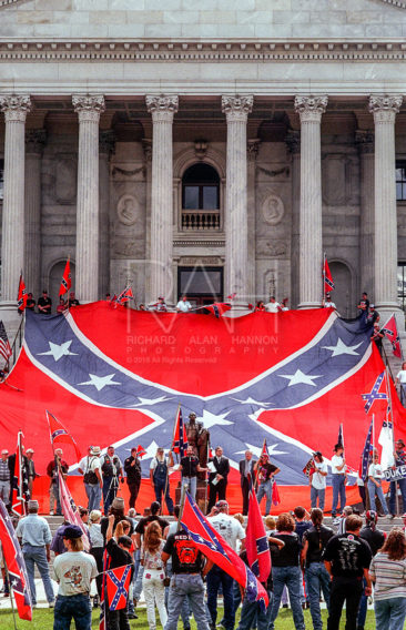 Supporters during a Confederate Flag rally at the Statehouse in Columbia, South Carolina on Saturday, October 9, 1999. Photo by Richard Alan Hannon
