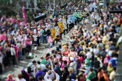 The Lawn Mower Brigade, also known as the Krewe of Yazoo, performs during the 2009 Spanish Town Mardi Gras parade.