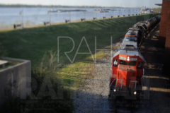 An train hauling chemicals through downtown Baton Rouge along the Mississippi River.