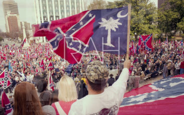 Confederate Flag rally at the Statehouse in Columbia, South Carolina on Saturday, October 9, 1999. Photo by Richard Alan Hannon