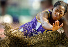 LSU's Dianne Harrison explodes into the pit in the women's heptathlon long jump event of the 2005 SEC Track and Field Championships at Vanderbilt University in Nashville Friday.