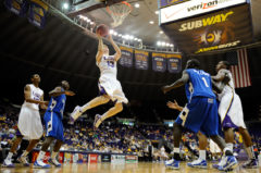 LSU's Eddie Ludwig snags a rebound during 2nd half play  against Indiana State during a preseason game at LSU's Maravich Assembly Center in Baton Rouge Monday.
