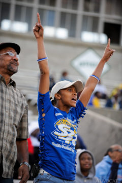 Delnese Jarrell and father Horace Antione, both living in South Baton Rouge, react to a favorable Jaguars play during the second half of her son's game against the South Baton Rouge Rams during the last regularly scheduled game of the season at Memorial Stadium in Baton Rouge Sunday November 9, 2008.