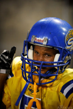 South Baton Rouge Jaguars Tyrion Davis, 8, sheds a tear after a temporary injury during his team's game against the South Baton Rouge Rams at Memorial Stadium in Baton Rouge Sunday November 9, 2008.