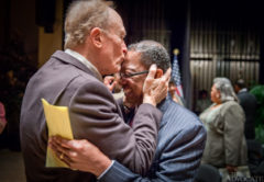 Baton Rouge Mayor-President Kip Holden, right, gets a kiss on the forehead by friend and former LSU head mens basketball coach Dale Brown after being sworn in for his third term by Judge James Brady during the inauguration ceremony at River Center Theatre for the Performing Arts Friday in Baton Rouge.