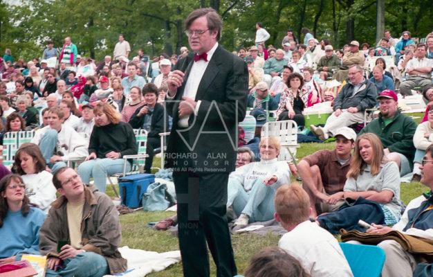 Radio show personality Garrison Keiller performs at the Blossom Music Center near Richfield, Ohio in June 1997. Photo © Richard Alan Hannon