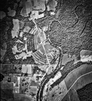 Aerial image of the earthworks at the Poverty Point Site, West Carroll Parish, Louisiana, U.S. Excerpt from USDA Agricultural Stabilization and Conservation Service aerial photograph CTK-2BB-125. Aerial photograph taken November 11, 1960.