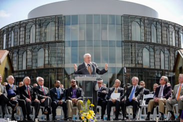 Former LSU chancellor Sean O'Keefe speaks during the LSU E.J. Ourso College of Business ribbon cutting ceremony for their new home, the Business Education Complex, during its unveiling in Baton Rouge Friday.