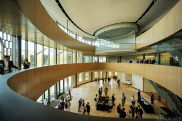 Visitors enter the new LSU E.J. Ourso College of Business Business Education Complex for the first time following a ribbon cutting ceremony in Baton Rouge Friday.