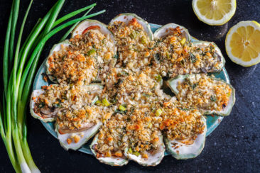 Oyster dish drizzled with lemon.