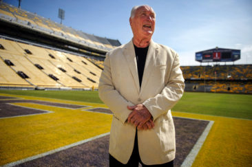 LSU football great Billy Cannon inside the end zone at LSU's field. LSU is marking the 50th anniversary of Cannon's 89-yard punt return on Halloween Night, 1959 that helped LSU beat Ole Miss, 7-3. Cannon went on to win the Heisman Trophy that year.