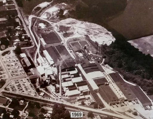 """Vintage aerial photograph of the PPG factory grounds in Mt. Vernon, Ohio. From the book """"Ariel-Foundation Park,"""" by Aaron Keirns. Photo provided by the Foundation Park Conservancy"""