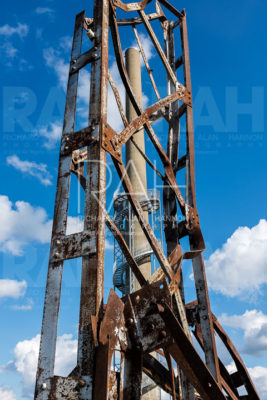 Sound recording atop the Rastin Observation Tower at at Ariel-Foundation Park in Mt. Vernon, Ohio, Sunday, October 2, 2016. The observation tower is a steel, spiral staircase that coils around the tallest structure in Knox County, PPG's industrial smoke stack built in 1951. The historical chimney served PPG from 1951 until its closing in 1979 and is constructed of reinforced concrete by the Slip Form Method, according to the foundation.The tower is 280 feet high with the observation deck at 140 feet above 224 steps. Photo by Richard Alan Hannon
