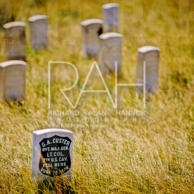 The headstone of General George Armstrong Custer. Little Bighorn Battlefield National Monument preserves the site of the June 25 and 26, 1876, Battle of the Little Bighorn, near Crow Agency, Montana, in the United States. Photo by Richard Alan Hannon