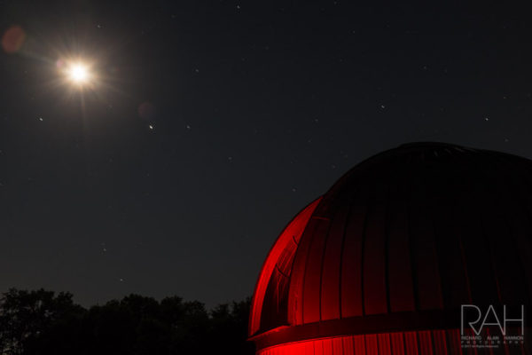 The moon, in its Waxing Gibbous phase, can be seen along with Jupiter to its right, at Warren Rupp Observatory on Saturday, July 1, 2017. Photo by Richard Alan Hannon