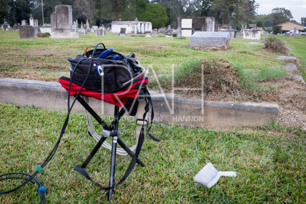 Contact microphone recording of a fire ant mound around the grave of Annie B. Schorten at Magnolia Cemetery in Baton Rouge, La. November 6, 2015. Photo by Richard Alan Hannon