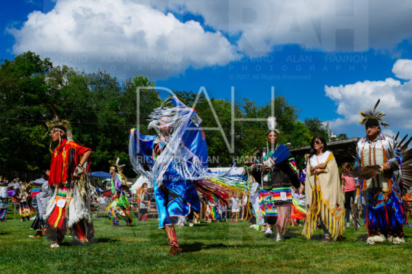 Dancers perform during the Grand Entry of the 33rd annual Great Mohican Pow-Wow at the Mohican Reservation campground outside Loudonville, Ohio Saturday, September 16, 2017. Photo by Richard Alan Hannon