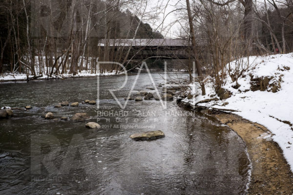 Sound recording at Mohican State Park covered bridge and along path to Big Lyons Falls. Photo by Richard Alan Hannon