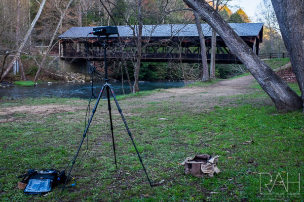 Sound recording of a the dawn chorus on the banks of the Clearfork River as it rolls past the covered bridge at Mohican State Park on Tuesday, April 18, 2017. Recorded with AT 3032 baffled omnis, and a Aquarian H2A hyrdophone. Photo by Richard Alan Hannon