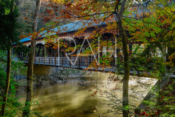 Built in 1968, a wooden covered bridge spans the Clearfork Mohican River at the base of Mohican State Park in north central Ohio. Photo by Richard Alan Hannon