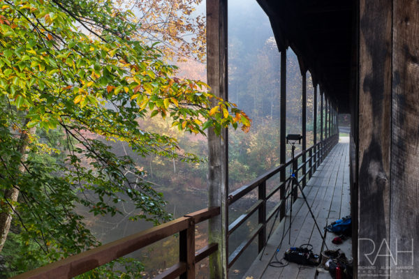 Mohican State Park sound recording at dawn, October 19, 2016. Photo by Richard Alan Hannon