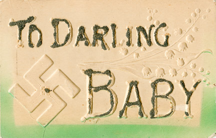 Vintage romance postcard with My Darling Baby, and a swastika.